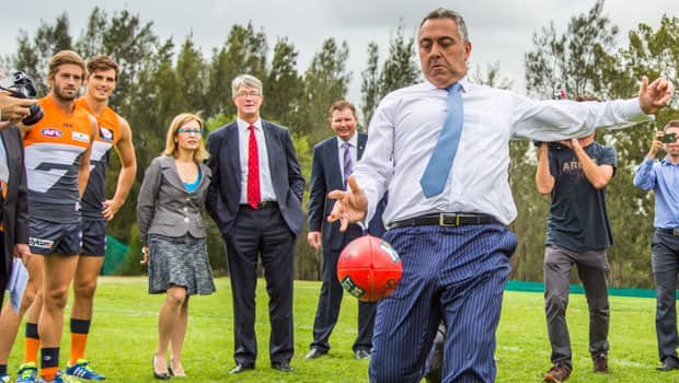 Federal Treasurer Joe Hockey has a kick on Tom Wills Oval after officially opening the Learning Life Centre.