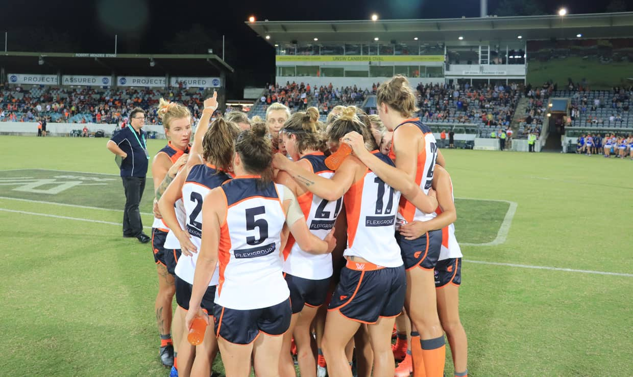 The GIANTS win over the Bulldogs last Saturday means a win over Brisbane on Friday will put them in the box seat to make the 2018 AFLW Grand Final. - GWS Giants,AFLW