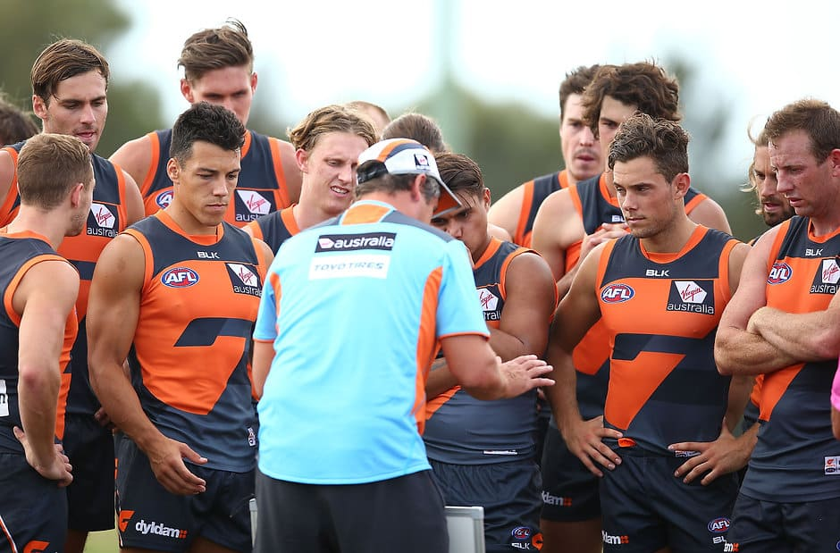 Leon Cameron talks to his players during the club's intra-club match - ${keywords}