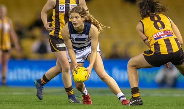 Nina Morrison finished with a game-high 20 disposals for the Cats - Geelong Cats