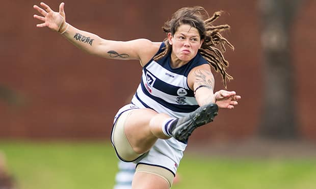 Richelle Cranston has been rewarded for an outstanding season by winning her first VFLW Best and Fairest - Geelong Cats,Richelle Cranston