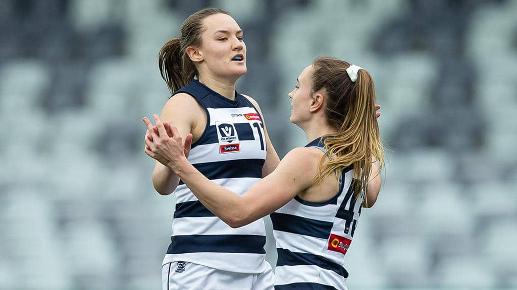 Georgia Clarke celebrates kicking one of her three goals against the Blues. - Geelong Cats