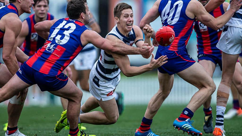Lachie Fogarty in action against Port Melbourne in round 18. - Geelong Cats