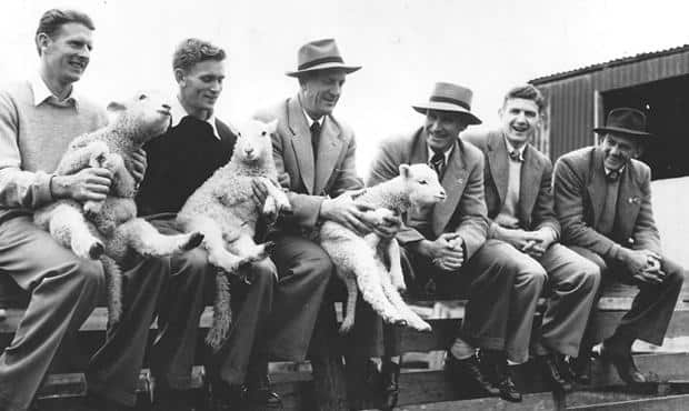 Geelong's links to the country from Gartland Heritage Collection - L to R: Bill McMaster, Russell Middlemiss, Reg Hickey, Fred Flanagan, John Hyde, Russell Renfrey.   - Geelong Cats