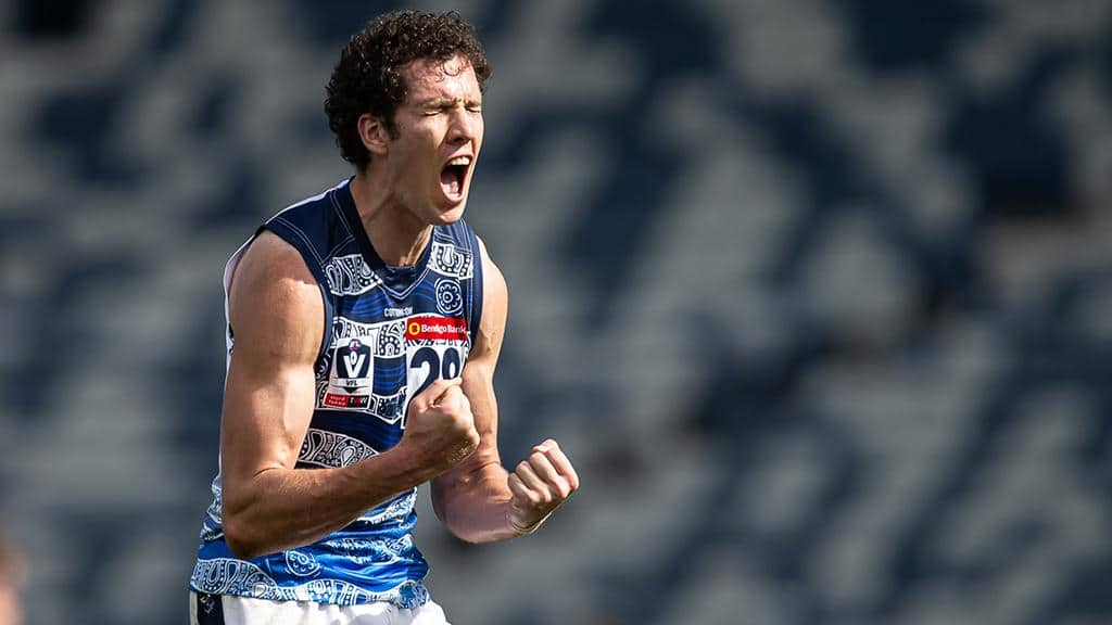 Darcy Fort celebrates one of his two goals. - Geelong Cats