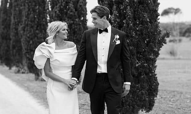 Tom Hawkins and Emma Clapham celebrate their nuptials