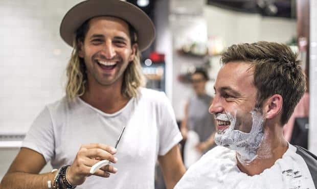 Jimmy Bartel receives his final hair cut and shave for the 2016 AFL season (Picture courtesy News Ltd)