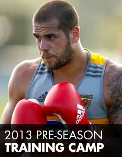 Lance Franklin gets down to business on the first day of the camp.