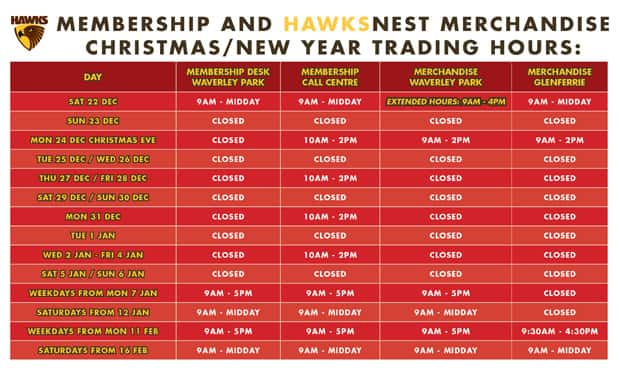 Full details of HawksNest and Membership closures over the Christmas/New Year period.