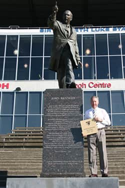 The pavers will be laid on the Kennedy Steps where the statue of John Kennedy Snr stands at the Ricoh Centre.