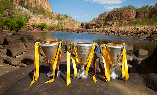 The premiership cups in Katherine.
