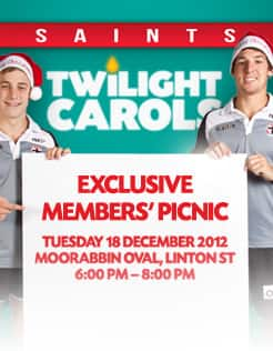 Join the Saints for our inaugural Christmas carols BBQ exclusively for 2013 members