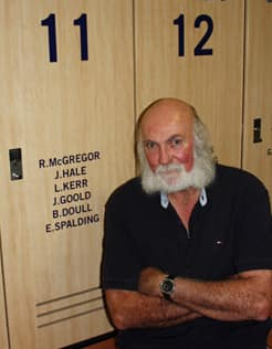 Bruce Doull sits in front of his old locker