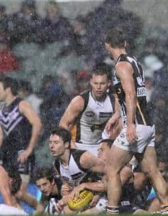 Hawthorn players slug it out in the wet against Fremantle
