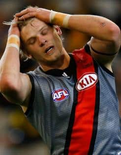 Michael Hurley shows his despair during the Bombers' clash with Richmond at the MCG