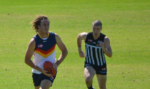 Noarlunga's Nick Mott in action for the SANFL Crows during their opening trial match at Alberton Oval