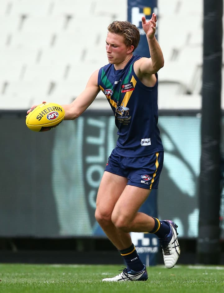 MELBOURNE, AUSTRALIA - APRIL 1: Alex Witherden in action during the AFL Academy v Werribee match at the MCG in Melbourne, Australia on April 1, 2016. (Photo by Scott Barbour/AFL Media)