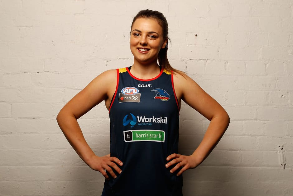 MELBOURNE, AUSTRALIA - NOVEMBER 10: Ebony Marinoff of the Crows poses during the AFL Womens Apparel Launch at Kensington Collective in Melbourne, Australia on November 10, 2016. (Photo by Adam Trafford/AFL Media)