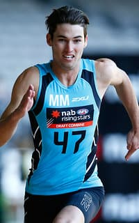 MELBOURNE, AUSTRALIA - OCTOBER 08: Jacob Allison runs the repeat sprint test during the NAB AFL Draft Combine at Etihad Stadium on October 08, 2016 in Melbourne, Australia. (Photo by Adam Trafford/AFL Media)