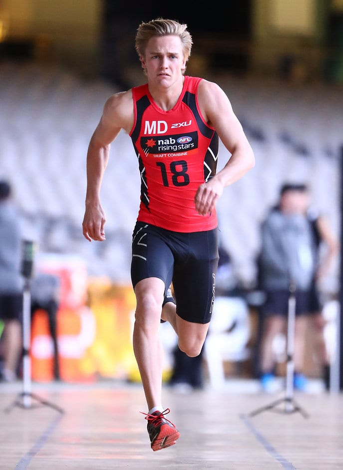 MELBOURNE, AUSTRALIA - OCTOBER 08: Harry Morrison runs in the Fitness Assessment No.3 – Repeat Sprint Test during the NAB AFL Draft Combine at Etihad Stadium on October 08, 2016 in Melbourne, Australia. (Photo by Scott Barbour/AFL Media)