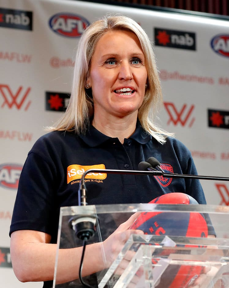 MELBOURNE, AUSTRALIA - OCTOBER 12: Melbourne Demons Elise O'Dea announces the number eight draft pick during the 2016 NAB AFLW Draft at NAB Building on October 12, 2016 in Melbourne, Australia. (Photo by Adam Trafford/AFL Media)