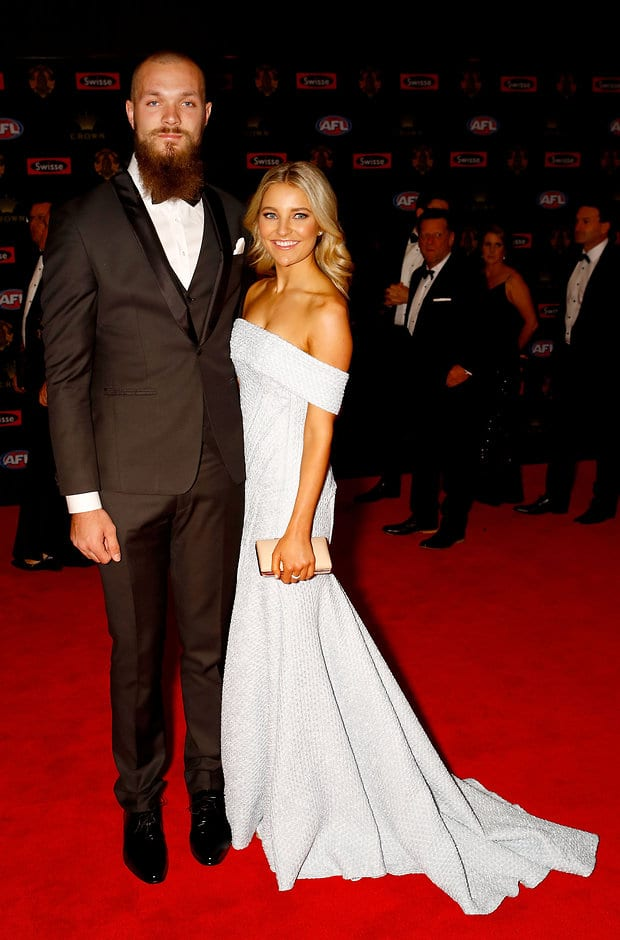 MELBOURNE, AUSTRALIA - SEPTEMBER 26: Max Gawn of the Demons and partner Jessica Todd arrive during the Swisse Brownlow Red Carpet Arrivals at the Crown Palladium on September 26, 2016 in Melbourne, Australia. (Photo by Darrian Traynor/AFL Media)