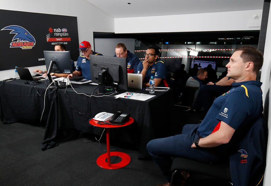 MELBOURNE, AUSTRALIA - NOVEMBER 22: Crows recruiting staff are seen during the 2018 NAB AFL Draft at Marvel Stadium on November 22, 2018 in Melbourne, Australia. (Photo by Adam Trafford/AFL Media)