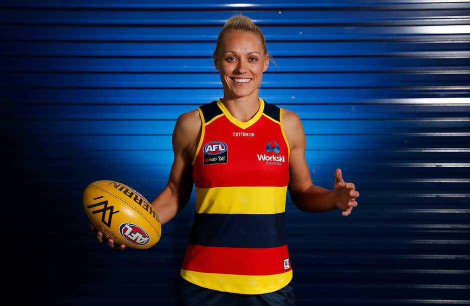 ADELAIDE, AUSTRALIA - NOVEMBER 30: Erin Phillips poses for a photograph during the Adelaide Crows AFLW 2019 official team photo day at AAMI Stadium on November 30, 2018 in Adelaide, Australia. (Photo by Michael Willson/AFL Media)