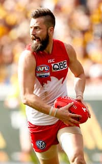 Nick Malceski of the Swans in action during the 2014 Toyota AFL Grand Final match between the Sydney Swans and the Hawthorn Hawks at the MCG, Melbourne on September 27, 2014. (Photo: Justine Walker/AFL Media)