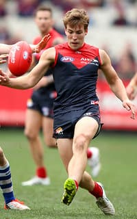 MELBOURNE, AUSTRALIA - AUGUST 9: Jack Viney of the Demons in action during the 2015 AFL round 19 match between the Melbourne Demons and the North Melbourne Kangaroos at the Melbourne Cricket Ground, Melbourne, Australia on August 9, 2015. (Photo by Justine Walker/AFL Media)