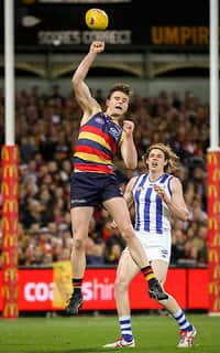 ADELAIDE, AUSTRALIA - SEPTEMBER 10: Jake Lever of the Crows punches the ball clear of Ben Brown of the Kangaroos during the 2016 AFL First Elimination Final match between the Adelaide Crows and the North Melbourne Kangaroos at the Adelaide Oval on September 10, 2016 in Adelaide, Australia. (Photo by AFL Media)