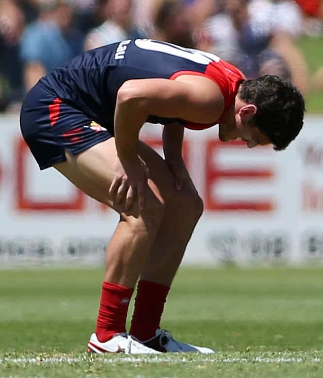 ADELAIDE, AUSTRALIA - FEBRUARY 27: Angus Brayshaw of the Demons injured during the 2016 NAB Challenge match between Port Adelaide Power and the Melbourne Demons at Playford Alive Oval, Adelaide on February 27, 2016. (Photo by AFL Media)