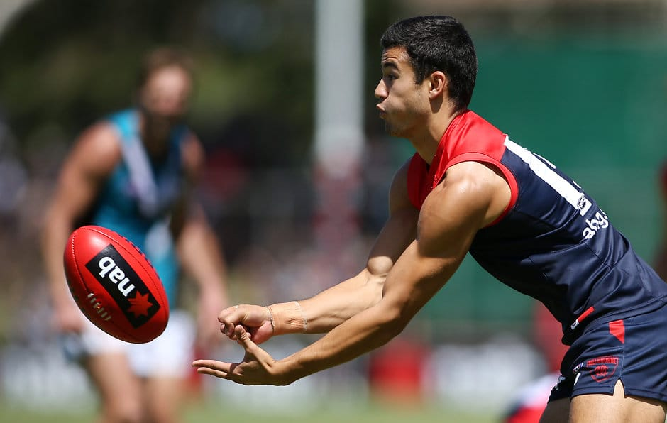ADELAIDE, AUSTRALIA - FEBRUARY 27: Billy Stretch of the Demons during the 2016 NAB Challenge match between Port Adelaide Power and the Melbourne Demons at Playford Alive Oval, Adelaide on February 27, 2016. (Photo by AFL Media)