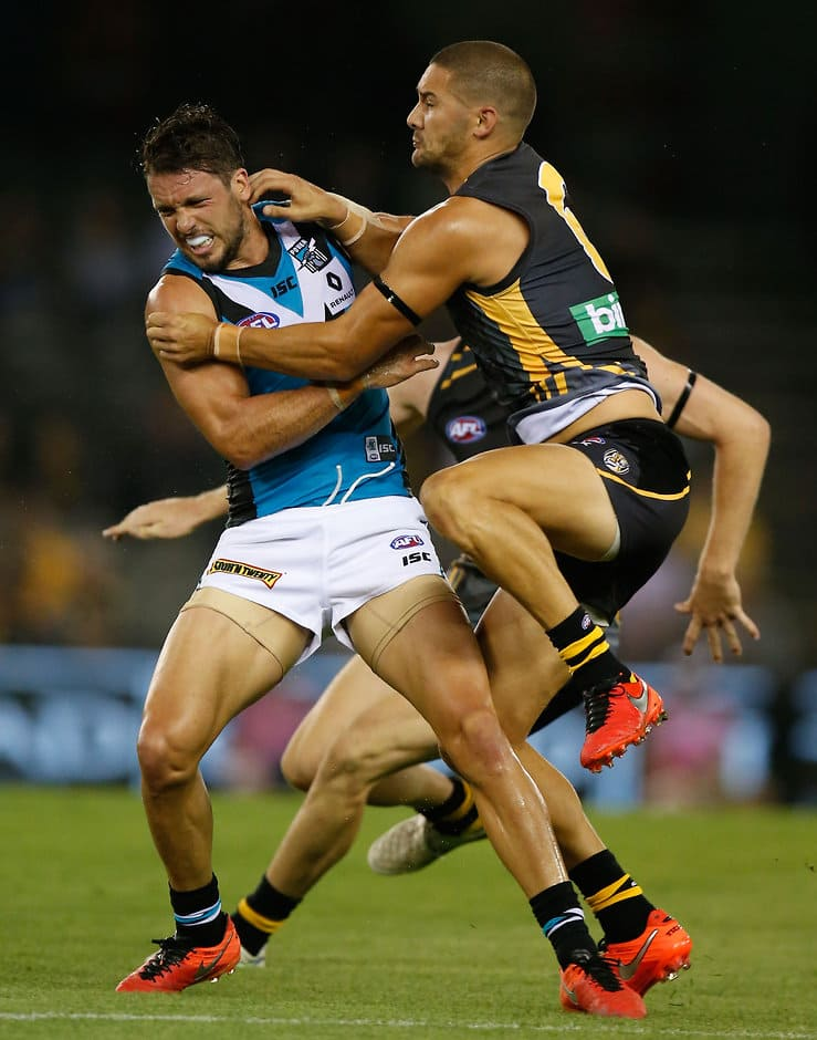 Travis Boak and Shaun Grigg collide on Thursday night at Etihad Stadium - ${keywords}