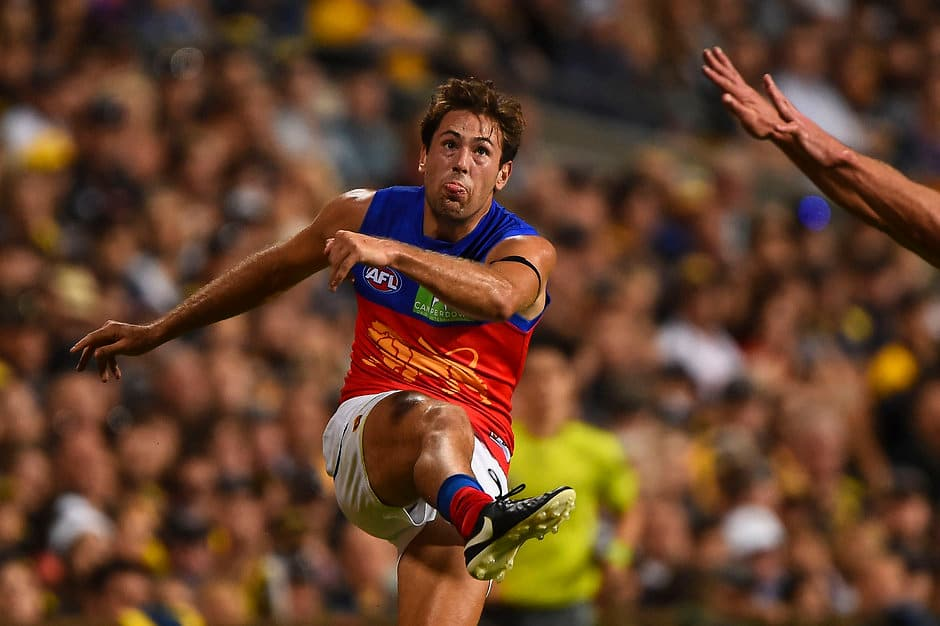 PERTH, AUSTRALIA - MARCH 27: Marco Paparone of the  Lions kicks during the 2016 AFL Round 01 match between the West Coast Eagles and the Brisbane Lions at Domain Stadium, Perth on March 27, 2016. (Photo by Daniel Carson/AFL Media)