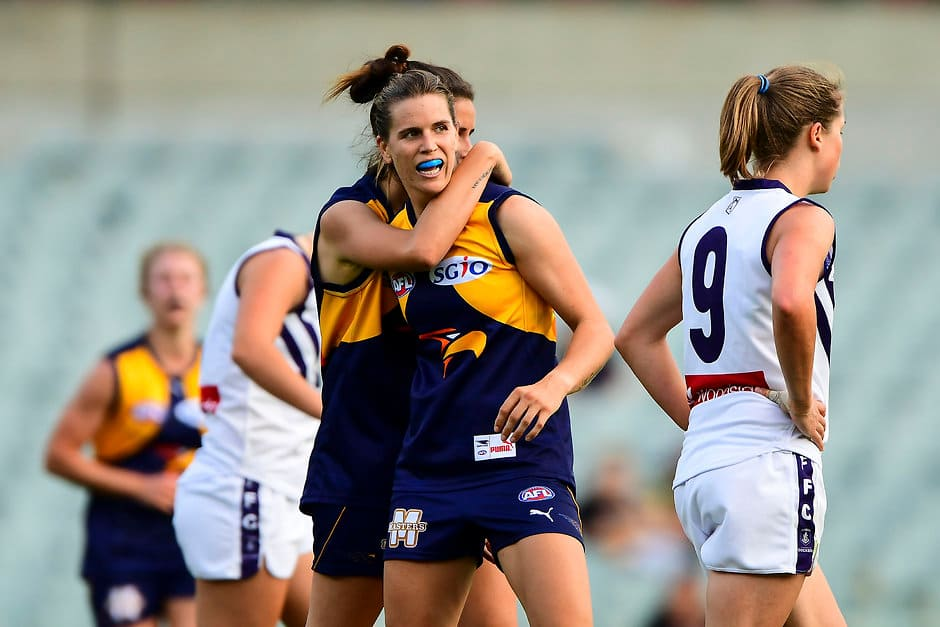 PERTH, AUSTRALIA - APRIL 9: Chelsea Randall of the Eagles celebrates a goal during the 2016 AFL Curtain Raiser match between the West Coast Eagles and the Fremantle Dockers at Domain Stadium, Perth on April 9, 2016. (Photo by Daniel Carson/AFL Media)