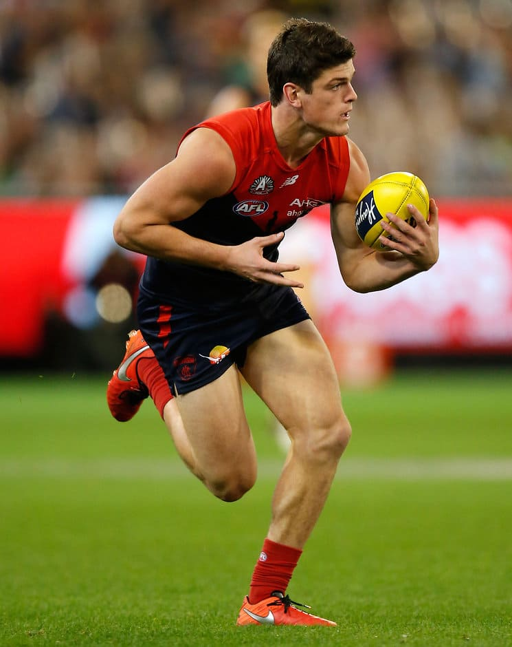 MELBOURNE, AUSTRALIA - APRIL 24: Angus Brayshaw of the Demons in action during the 2016 AFL Round 05 match between the Melbourne Demons and the Richmond Tigers at the Melbourne Cricket Ground, Melbourne on April 24, 2016. (Photo by Michael Willson/AFL Media)
