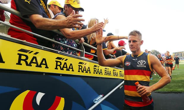 ADELAIDE, AUSTRALIA - APRIL 30: David Mackay of the Crows celebrates their win during the 2016 AFL Round 06 match between the Adelaide Crows and the Fremantle Dockers at Adelaide Oval, Adelaide on April 30, 2016. (Photo by James Elsby/AFL Media)