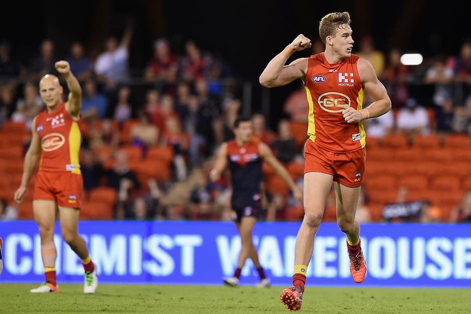 GOLD COAST, AUSTRALIA - MAY 7:  Tom Lynch of the Suns celebrates kicking a goal during the 2016 AFL Round 07 match between the Gold Coast Suns and the Melbourne Demons at Metricon Stadium, Gold Coast on May 7, 2016. (Photo by Matt Roberts/AFL Media)