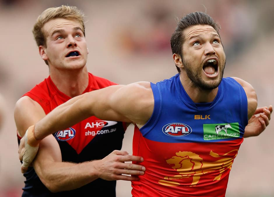 MELBOURNE, AUSTRALIA - MAY 22: Jack Watts of the Demons and Stefan Martin of the Lions compete in a ruck contest during the 2016 AFL Round 09 match between the Melbourne Demons and the Brisbane Lions at the Melbourne Cricket Ground on May 22, 2016 in Melbourne, Australia. (Photo by Michael Willson/AFL Media)