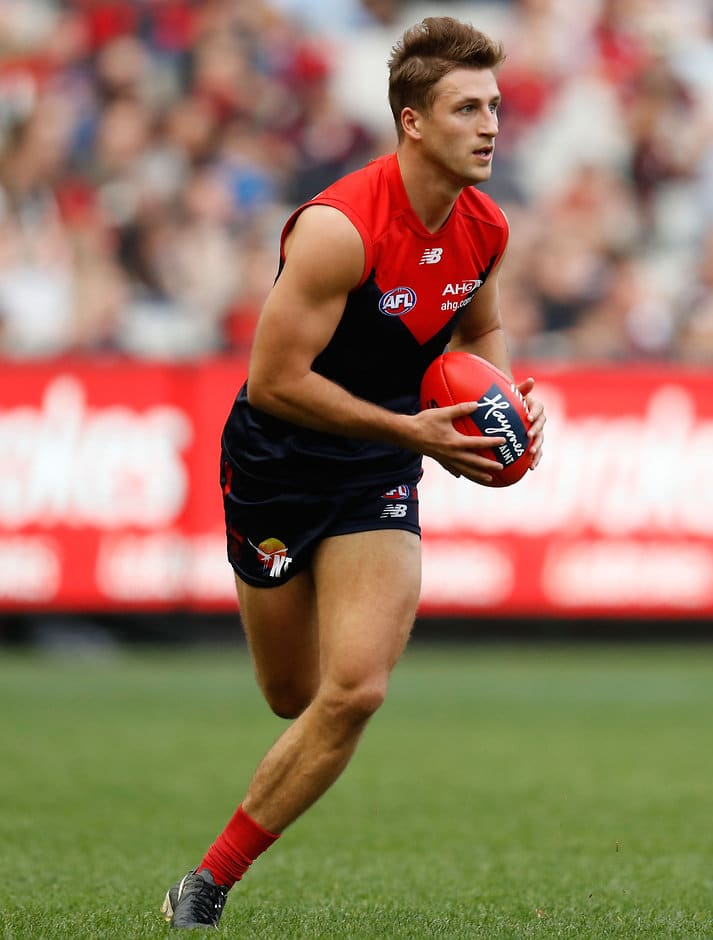 MELBOURNE, AUSTRALIA - MAY 22: Viv Michie of the Demons in action during the 2016 AFL Round 09 match between the Melbourne Demons and the Brisbane Lions at the Melbourne Cricket Ground on May 22, 2016 in Melbourne, Australia. (Photo by Michael Willson/AFL Media)