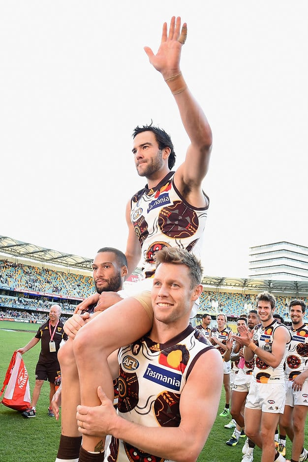 BRISBANE, AUSTRALIA - MAY 28: Jordan Lewis of the Hawks is chaired off the field during the 2016 AFL Round 10 match between the Brisbane Lions and the Hawthorn Hawks at The Gabba on May 28, 2016 in Brisbane, Australia. (Photo by Matt Roberts/AFL Media)