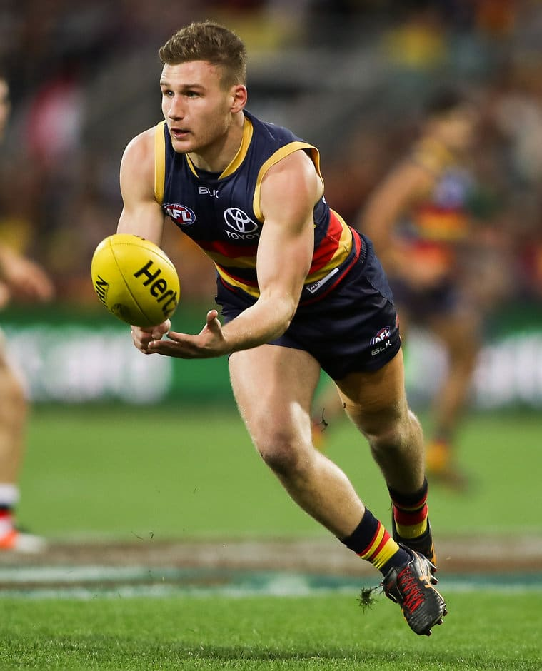ADELAIDE, AUSTRALIA - JUNE 05: Rory Laird of the Crows during the 2016 AFL Round 11 match between the Adelaide Crows and the St Kilda Saints at Adelaide Oval on June 5, 2016 in Adelaide, Australia. (Photo by AFL Media)