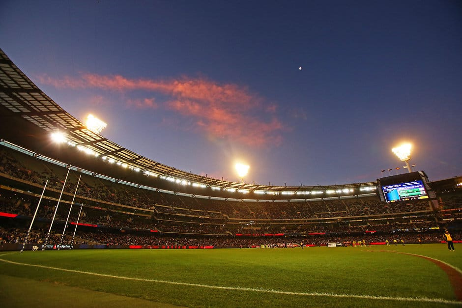 MELBOURNE, AUSTRALIA - JUNE 13: A general view during the 2016 AFL Round 12 match between the Melbourne Demons and the Collingwood Magpies at the Melbourne Cricket Ground on June 13, 2016 in Melbourne, Australia. (Photo by Scott Barbour/AFL Media)