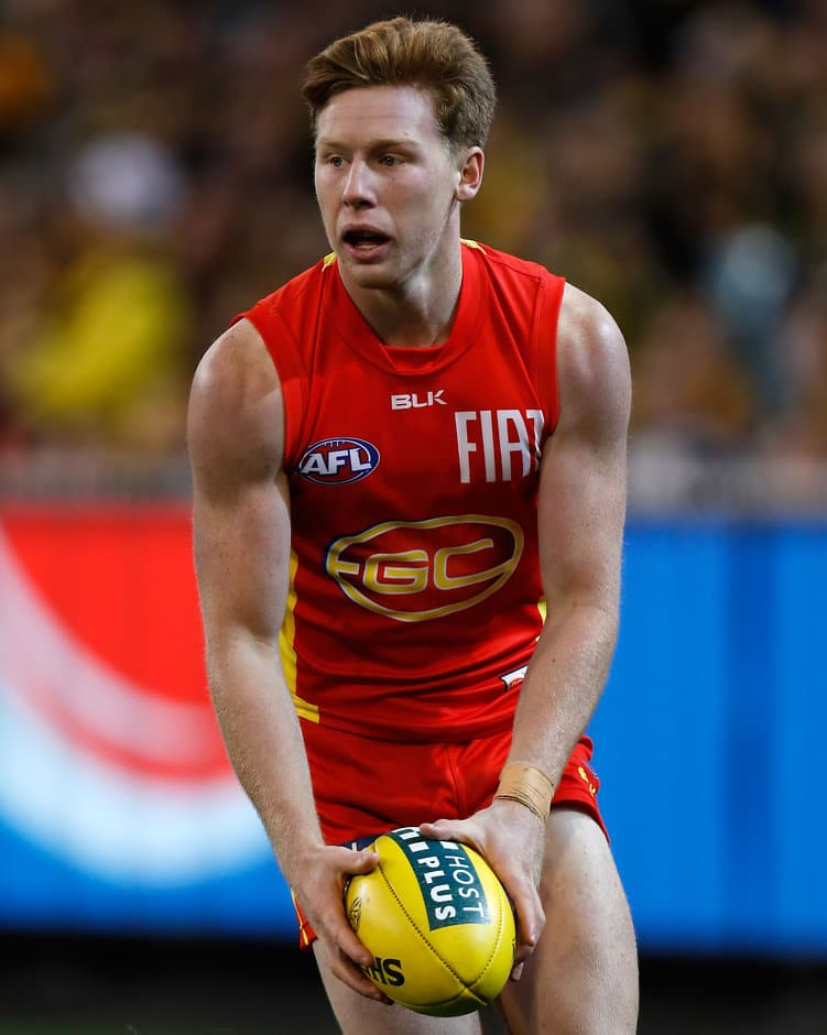 MELBOURNE, AUSTRALIA - JUNE 12: Jesse Joyce of the Suns in action during the 2016 AFL Round 12 match between the Richmond Tigers and the Gold Coast Suns at the Melbourne Cricket Ground on June 12, 2016 in Melbourne, Australia. (Photo by Michael Willson/AFL Media)