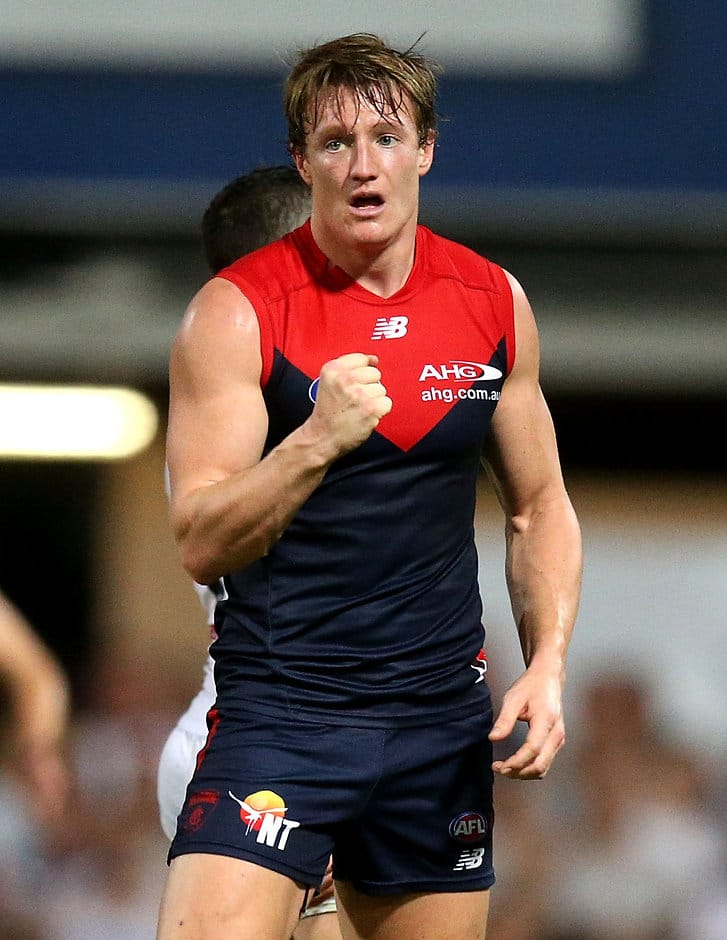 DARWIN, AUSTRALIA - JULY 09: Aaron vandenBerg of the Demons celebrates a goal during the 2016 AFL Round 16 match between the Melbourne Demons and the Fremantle Dockers at TIO Stadium on July 9, 2016 in Darwin, Australia. (Photo by Justine Walker/AFL Media)