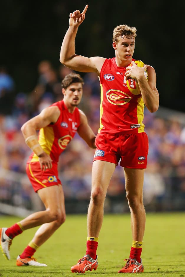 CAIRNS, AUSTRALIA - JULY 16: Tom Lynch of the Suns reacts after he marks the ball during the round 17 AFL match between the Western Bulldogs and the Gold Coast Suns at Cazaly's Stadium on July 16, 2016 in Cairns, Australia.  (Photo by Michael Dodge/Getty Images/AFL Media)