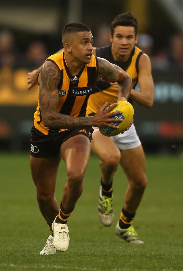 MELBOURNE, AUSTRALIA - JULY 24: Bradley Hill of the Hawks in action during the 2016 AFL Round 18 match between the Hawthorn Hawks and the Richmond Tigers at the Melbourne Cricket Ground on July 24, 2016 in Melbourne, Australia. (Photo by Sean Garnsworthy/AFL Media)