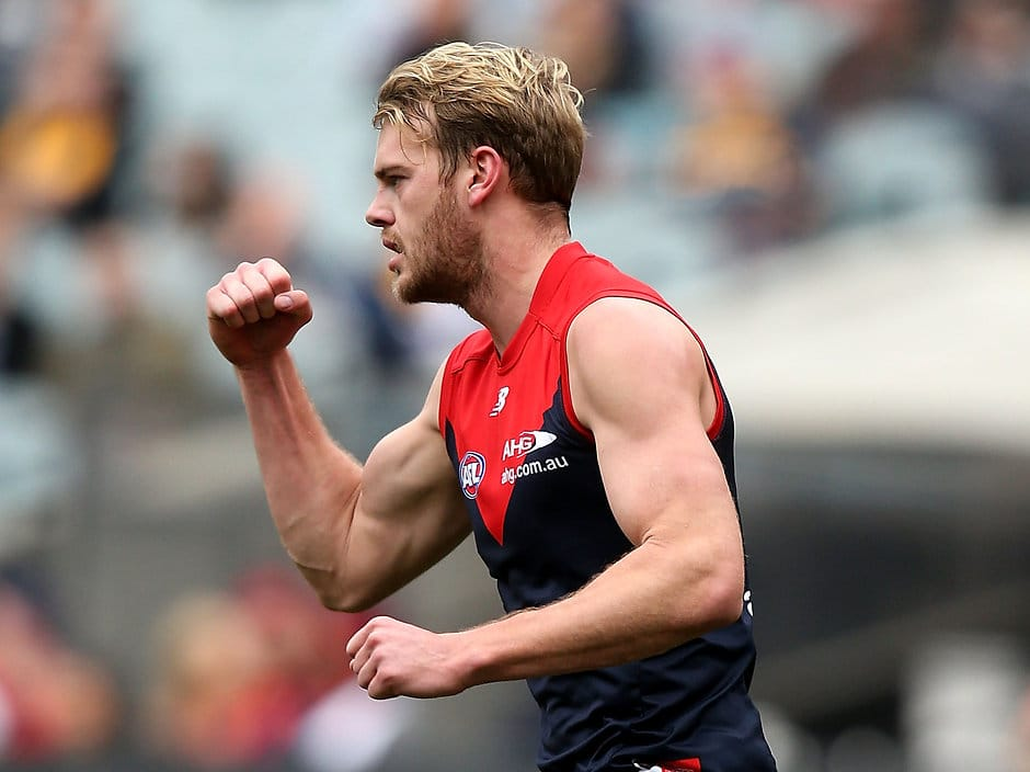 MELBOURNE, AUSTRALIA - AUGUST 06: Jack Watts of the Demons celebrates a goal during the 2016 AFL Round 20 match between the Melbourne Demons and the Hawthorn Hawks at the Melbourne Cricket Ground on August 06, 2016 in Melbourne, Australia. (Photo by Justine Walker/AFL Media)