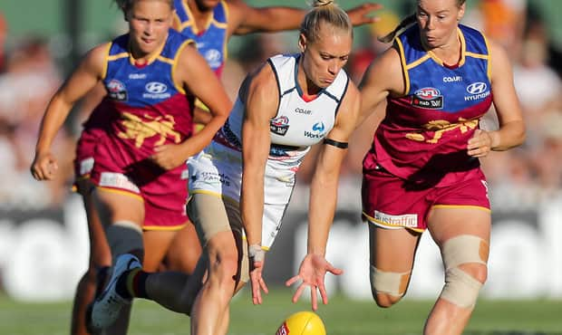 ADELAIDE, AUSTRALIA - MARCH 4: Erin Phillips of the Crows clashes with Brittany Gibson of the Lions during the 2017 AFLW Round 05 match between the Adelaide Crows and the Brisbane Lions at Norwood Oval on March 4, 2017 in Adelaide, Australia. (Photo by AFL Media)